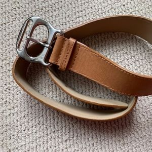 Michael Kors chestnut leather belt with silver L
